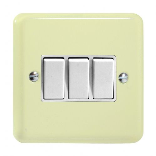 Varilight XY3W.WC Lily Pastel White Chocolate 3 Gang 10A 1 or 2 Way Rocker Light Switch
